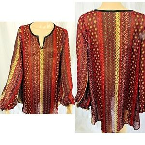 2Tee Couture blouse size XL semi sheer long sleeve